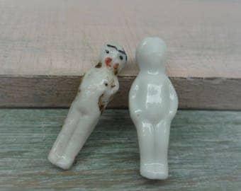 2 Tiny Vintage Frozen Charlotte Porcelain Doll Figures, China Miniatures