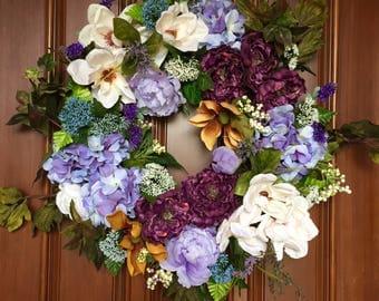 Farmhouse Magnolia Wreath, Front Door Wreath, Summer Wreath for Front Door, Summer Farmhouse Wreath, Magnolia Wreath, Farmhouse Decor Wreath