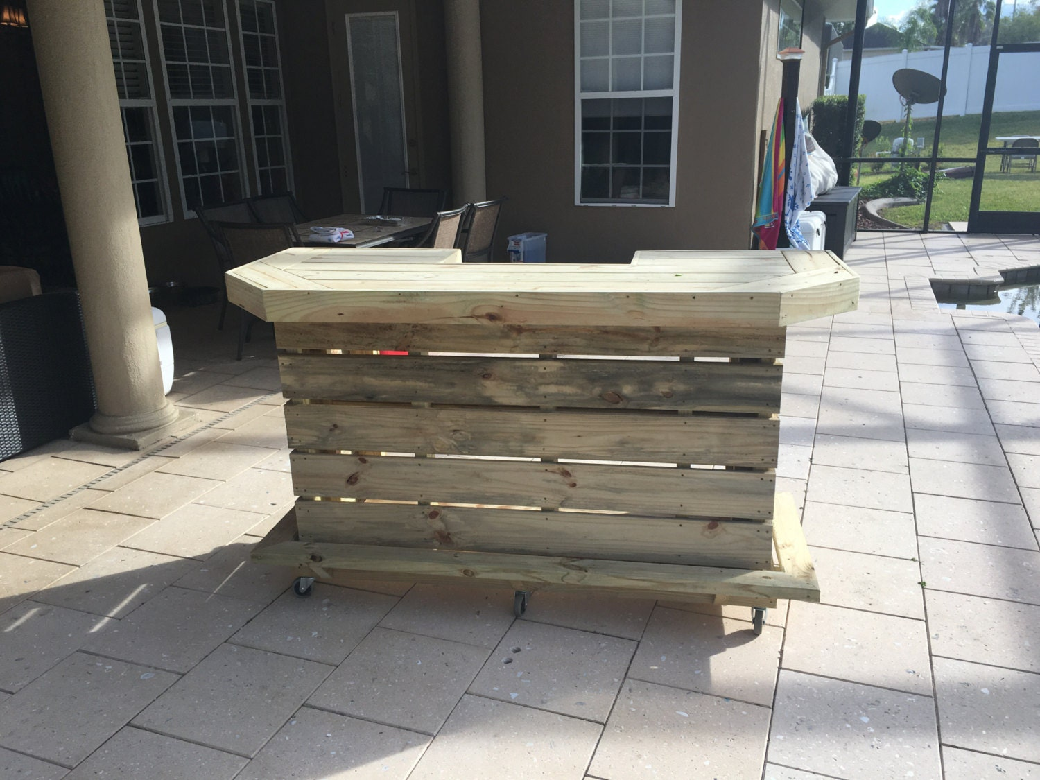 The elyse 6 39 pallet style outdoor or indoor patio bar for U shaped outdoor bar