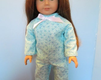 Aqua Flannel Pjs for 18'' dolls Such as American Girl, Our Generation and Others, Cute Snuggly Pjs, Great for Slumber Parties, Winter Wear