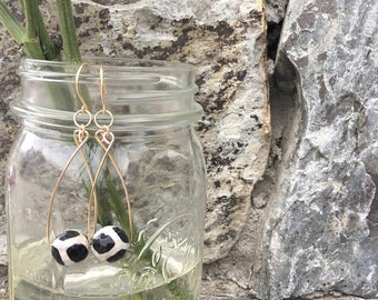 Black and White Gold Filled Dangle Earrings