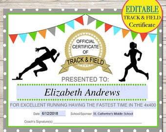 EDITABLE Track & Field Award Certificates, INSTANT DOWNLOAD, Track Awards, Track Party Printable, Printable Award Sports Runner Certificates