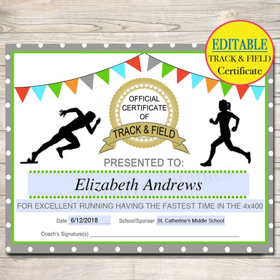 track and field certificate templates free  EDITABLE Track