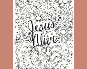 Jesus is Alive Coloring Page, Easter Coloring Page, Christian Coloring Page, Hand Drawn Coloring Page