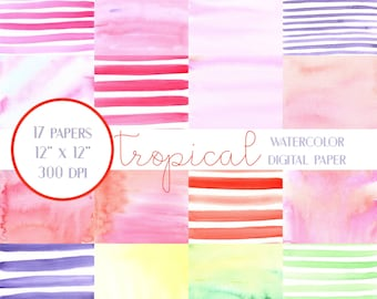 Tropical Watercolors Digital Paper, Tropical Watercolors Scrapbook Paper, Summer Digital Paper, Stripes Digital Paper