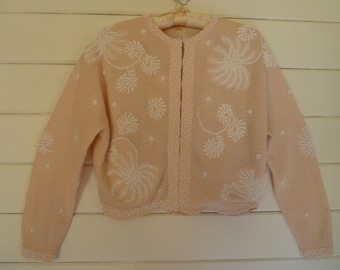 Vintage 1950's Beaded Sweater w/lining Hand Beaded