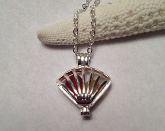 Shell Sea Glass Locket Necklace - Red/Yellow