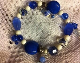 Blue and white beaded Celti knot bracelet.