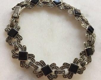 Onyx & Marcasite Link Bracelet, Sterling Silver
