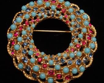 Bead Studded Circle Pin Sarah Coventry