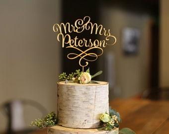 Mr & Mrs Last Name Filigree Wood Cake Topper - Wedding Cake Topper