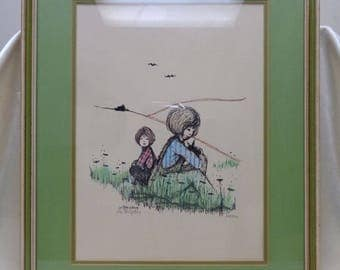 "Signed Matted & Framed Vintage Lois Konigsberg ""Friends"" Hand Colored Lithograph"
