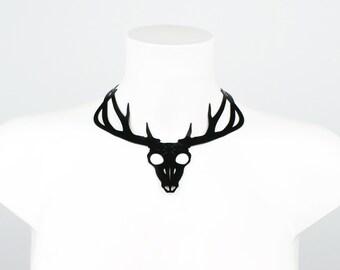Latex Engraved Deer Skull Statement Necklace