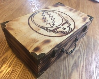 Grateful Dead Steal Your Face Wood Burned Box