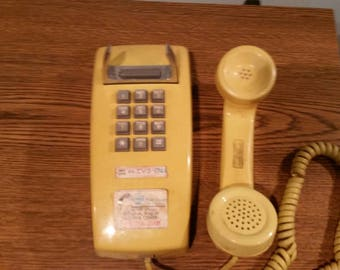 Western electric bell push button yellow wall telephone