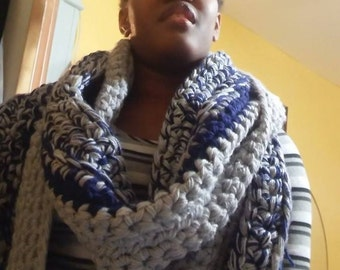 I Call This Midnight Cloudy Blue Handmade Custom Made Grey and Royal Blue Crocheted Infinity Scarf with Invisible Pocket and Hood