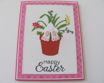 Easter Bunny Flower Pot Card, Happy Easter Bunny Card, Spring Cards, Bunny Cards,  Happy Easter Cards, Easter Cards, Spring Celebration Card