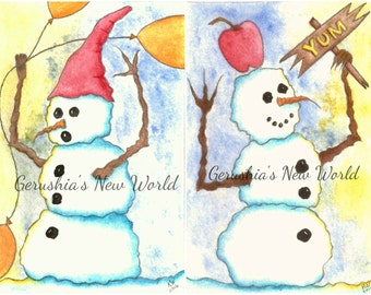 Snowman Print Set -  Watercolor Prints, Print Set, Salted Watercolor