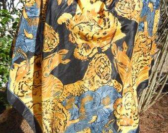 Vintage Black Gold leopard animal print extra large scarf