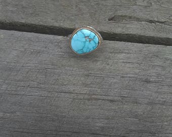 Turquoise, gold and sterling silver ring. Size 8 & 3/4