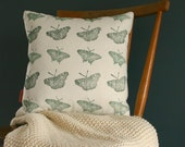 """Butterfly Print Linen Cushion cover 40 cm x 40 cm, Throw pillow cover 16"""" x 16"""", Hand printed pillow cover with zip."""