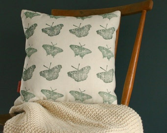 "Butterfly Print Linen Cushion cover 40 cm x 40 cm, Throw pillow cover 16"" x 16"", Hand printed pillow cover with zip."