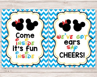 Printable Mickey Mouse Clubhouse Party Signs - Party Decorations - Welcome Sign - Mickey Mouse - Minnie Mouse - Party Favor