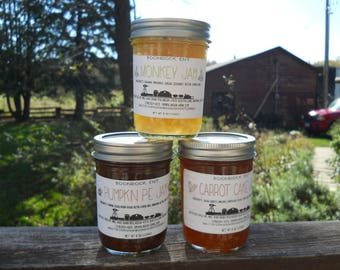 Dessert Flavored Jam - Choose From 13 Unique Artisan Jams - Pumpkin Pie Jam - Caramel Apple - Pecan Pie - Hostess Gift -Boondock Enterprises