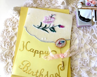 Pretty floral - Vintage Linen greeting card with stick pin gift