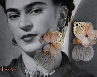 Earrings Transfer / Butterflies Organza Earrings / Botany Earrings / Butterfly Earrings / 3D Butterfly / Wedding Gift
