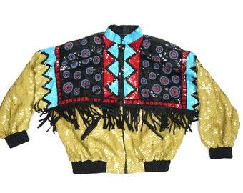 Vintage Sequins Bomber Jacket