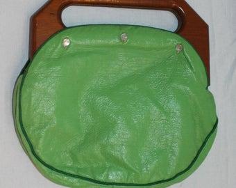 Vtg Purse Handbag The Bee Hive Baltimore Wood Wooden Handle Retro Hippie Button Off Exterior Interchangeable