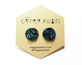 Blue Green Large Druzy Galaxy Stud Earrings