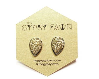 Gold Teardrop Shaped Galaxy Druzy Stud Earrings