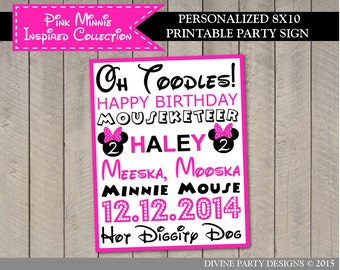 PERSONALIZED Hot Pink Mouse Printable 8x10 Subway Art Party Sign / Includes Name, Age & Date / ...