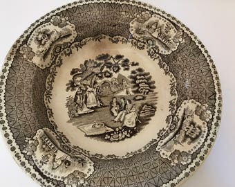 "Vintage c 1850 ""Park Scenery"" Serving Bowl- Brown and White Transferware Plate 8 3/4"" diameter"