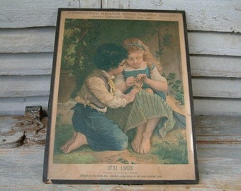 Antique color lithograph of children. Girl and Boy. Girl sewing. Little lovers. Jeanne d'Arc living, Nordic living decor. Shabby chic poster