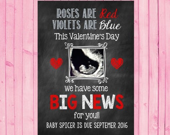 Ultrasound Valentine's Day Announcement Card Valentine's Day Pregnancy Reveal Sonogram Ultrasound