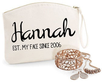 Your Name, Message & Year - Personalised Makeup Bags - Gifts for Bridesmaids Active