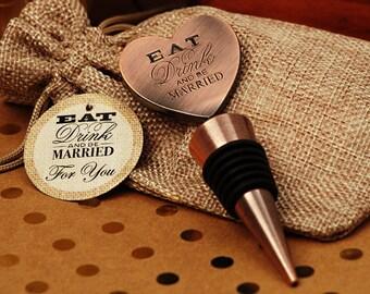 Wine Wedding Favors, Copper Heart Wine Bottle Stopper, Eat Drink Be Married Wedding Favors, Vintage Bottle Stopper (4008)