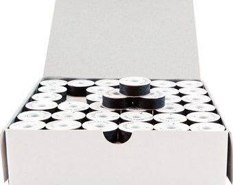 Black, L-Style Paper-Sided Prewound Embroidery Bobbins - 144 Per Box