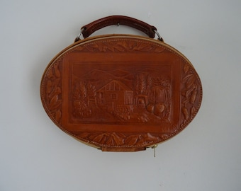 40's/50's Bag Tooled Leather Handbag
