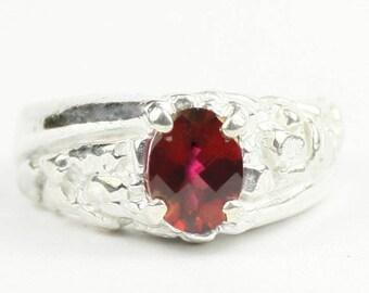 Crimson Fire Topaz, 925 Sterling Silver Men's Ring, SR368