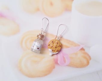 earrings cookie and bottle of milk polymer clay