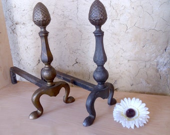 French Andirons, iron firedogs with cast brass / bronze fronts Fireplace Chenets