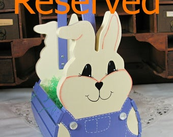 RESERVED for kg1122 - Personalized Handmade Wooden Children's Easter Bunny Basket or Table Centerpiece - Dark Lavender - Ready to Ship
