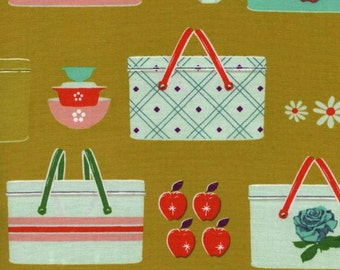 Half Yard - 1/2 Yard of Picnic Basket Mustard - PICNIC by Melody Miller - Cotton & Steel