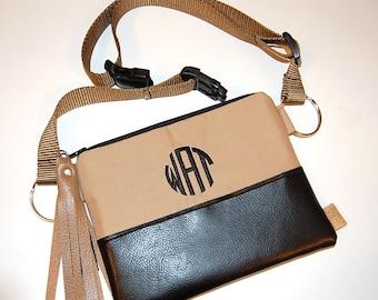 Tan Monogrammed Bag, Fanny Pack, Bum Bag, Waist Bag, Hip Bag, Casino Purse, Festival Bag, Personalized Bag, Wrist Bag, Vacation Purse