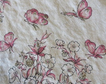"""Tablecloth Linen Vintage Off White with Pink Butterflies and Metalic Gold Berries 49"""" square  //  Vintage Linens Country Cottage Decor"""