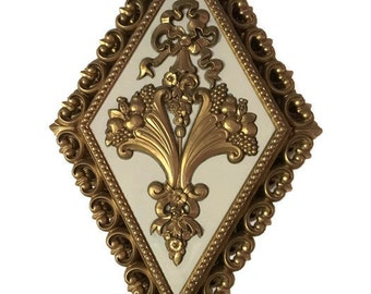 Vintage Set of 4 Diamond Shaped Wall Plaques by HOMCO, Made in USA 1971, Hollywood Regency